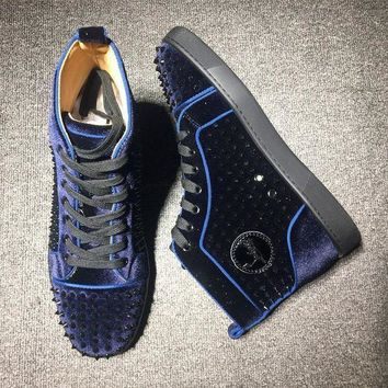 DCCK Cl Christian Louboutin Louis Spikes Mid Style #1801 Sneakers Fashion Shoes