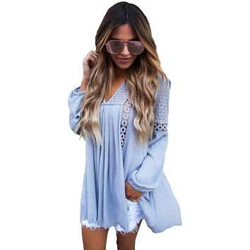 Chicloth Blue Crochet Lace Trim Relaxed Long Sleeve Tunic