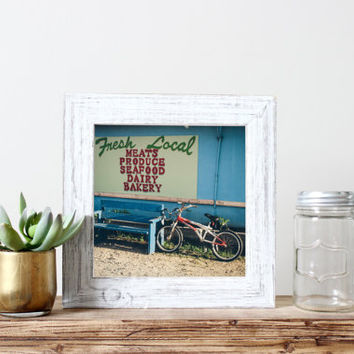 Square wall art, fine art photography, Bike at Farmers Market, travel photograph, North Carolina, Kure Beach, home decor, summer, vintage
