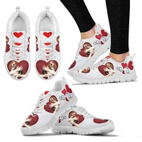 Valentine's Day Special-Basset Hound in heart Print Running Shoes For Women-Free Shipping