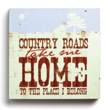 Demdaco Lyricology Take Me Home, Country Roads Wall Art
