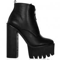 BANDIT Chunky Cleated Sole Zip Platform Ankle Boots - Black Leather Style