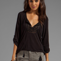 Soft Joie Anzu Lace Inset Blouse in Caviar from REVOLVEclothing.com