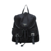 Black Fabric Slouch Backpack