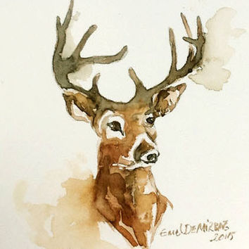 Holiday SALE . Original Abstract Painting Deer - original contemporary fine art - drawing on paper - abstract