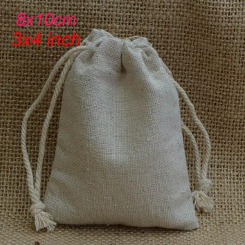"Cotton Linen Drawstring Bag 8x10cm (3""x 4"") pack of 100 Makeup Jewelry Gift Packaging Pouch"