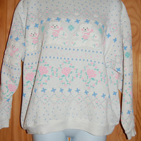 Vintage 80s Pastel Puffy Teddy Bears Roses Tribal Stars Sweatshirt by Spumoni SML