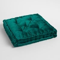 Teal Green Velvet Tufted Floor Cushion