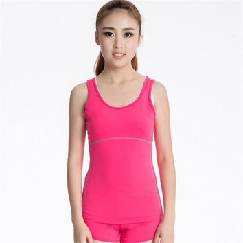 #2001 Summer Women Sports Running Yoga Fitness Gym Training Shirt Camisole Tank Top Shirts Thermal Tops Vests 7 Colors S-XXL