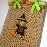 ON SALE Reusable Burlap Witch Halloween Gift Bag Trick or Treat Bag Home Decor With Twine Handles