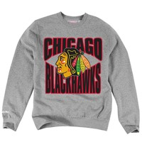 Men's Chicago Blackhawks Mitchell & Ness Gray Practice Tailored Fit Fleece Crew Neck Sweatshirt