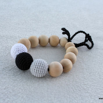 Black-grey-white peony bracelet-teether