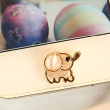 Eshop Lovely Home Button Sticker for Apple Iphone 4 4s 5 5g Ipad 1 2 the New Ipad 3 Itouch + Eshop Cable Tie (Stone elephant sticker)