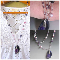 Lilacs in Bloom ... Druzy Amethyst , Pearl, Rose Quartz, moonstone and Sterling Silver Necklace   TAGT