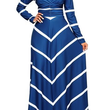Blue Striped Chevron V Neck Long Sleeve Maxi Dress