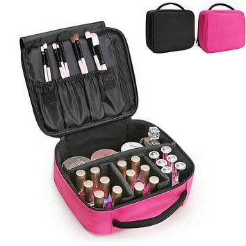 Women Profession Cosmetic Bag Large Travel Trunk Makeup Case Zipper Make Up Organizer Storage Pouch Toiletry Functional Kit Box