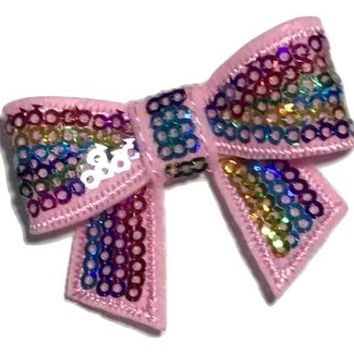 """Light pink rainbow 2"""" sequin bow / 1-5 pieces"""