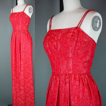 """50s Red Dress Gown Vintage 1950s Formal Wiggle Full Length Party Evening Cocktail XXS W 23"""""""