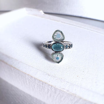 blue tourmaline ring, tourmaline slice, blue tourmaline raw, tourmaline ring, October birthstone, indicolite ring, gemstone ring, bespoke