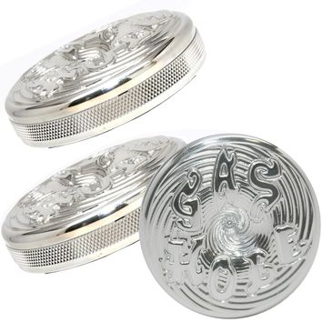 Polished Harley Shovelhead Gas Hole Cap Set