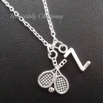 On sale.......Silver plated Tennis rackets and ball necklace, monogram personalized custom gifts under 10 item No.716