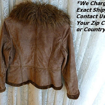 Vintage ESPRIT SUEDE LEATHER Jacket, Faux Mongolian Lamb Collar, Fleece Lining, Ladies Small, 70s 80s Cropped Rich Hippie Boho Winter Gypsy
