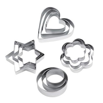 DCCKL72 Hot 12pcs Stainless Steel Cookie Biscuit DIY Mold Star Heart Cutter Baking Mould New