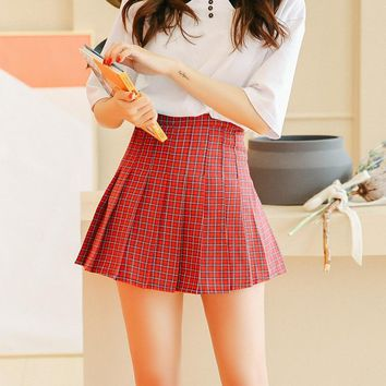 Women's Skirts Japan Punk Kawaii Ulzzang Vintage High Waist Red Pleated Plaid Skirt Female Korean Harajuku Button For Women