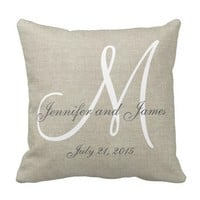 Beige Linen Gray White Monogram Wedding Keepsake