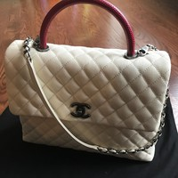 "CHANEL ""COCO HANDLE"" FLAP BAG -Large size- NWT - Ruthenium Hardware"