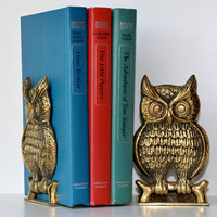 Vintage Brass Owl Bookends by CollectiveHeart on Etsy