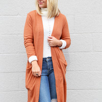 Ribbed Long Cardigan {Pumpkin Spice}