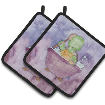 Turtle Bathing Watercolor Pair of Pot Holders BB7344PTHD