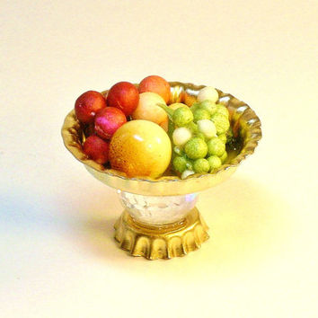 Miniature Cake Stand Dollhouse Fairy Garden Dessert Tray with Fruit