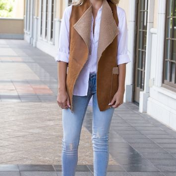 Lauri Tan Faux Fur Vest