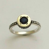 Sterling silver combined yellow gold inlaid onyx by artisanlook