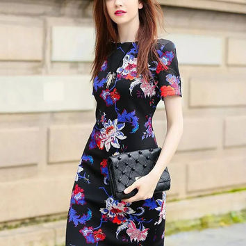 Black Floral Short Sleeve Bodycon Mini Dress
