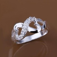 """Solid Sterling Silver & CZ Infinity Heart Ring """"Tiffany"""" Style from GemEnvy"""