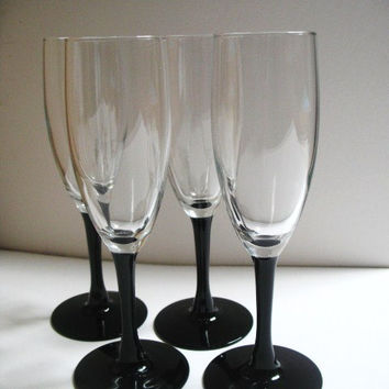 Black Stem Champagne Flutes Set of Four Vintage Champagne Glasses Barware