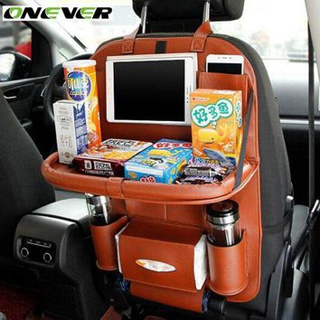 CREYLD1 Onever High Quality PU Leather Auto Car Seat Back Organizer Bag Folding Shelf Multi-pocket Drink Holder Back Seat Hanging Bag