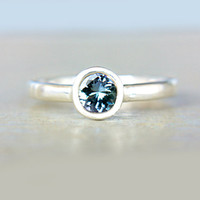 Natural Tanzanite Ring Sterling Silver Blue Tanzanite Ring Size 7 Engagement December Birthstone Tanzanite Engagement Ring