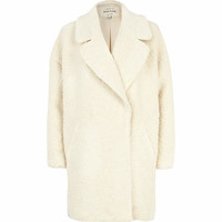 Cream boucle oversized coat