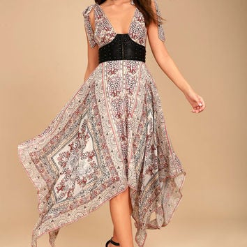 Free People You For Me Cream Print Maxi Dress