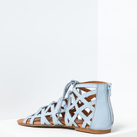 Blue Leatherette Laser Cut Open Toe Sandals