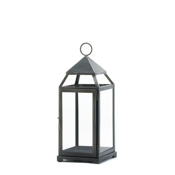Iron Large Rustic Silver Contemporary Candle Holder Lantern