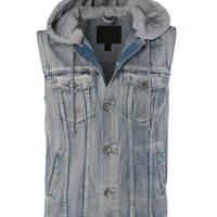 LE3NO Mens Premium Denim Vest with Detachable Hoodie (CLEARANCE)