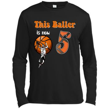 5th Birthday Basketball T-Shirt Funny 5 Years Old Gift Long Sleeve Moisture Absorbing Shirt
