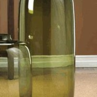 Large Glass Vase Mouth Blown Olive Green Finish