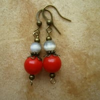 Small Dangle Earrings Red Currant and Ice Blue  by PiggleAndPop