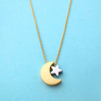 Moon, And, Star, Necklace, Best, Friend, Necklace